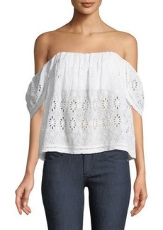 Lovers + Friends Lovers And Friends Life's A Beach Off-The-Shoulder Eyelet Blouse