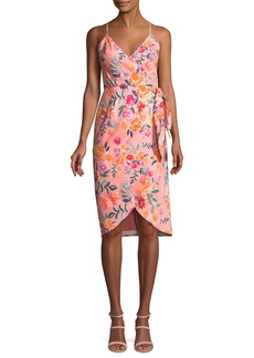 Lovers + Friends Orchid Sleeveless Floral Faux-Wrap Dress