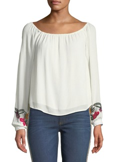 Lovers + Friends Over-The-Sea Embroidered-Sleeve Blouse