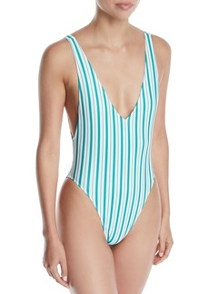Lovers + Friends Pride Striped High-Leg One-Piece Swimsuit