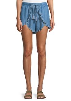 Lovers + Friends Serene Ruffled Chambray Shorts