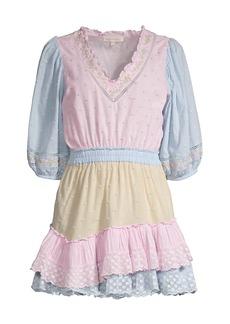 LoveShackFancy Adley Polka Dot Ruffle Mini Dress