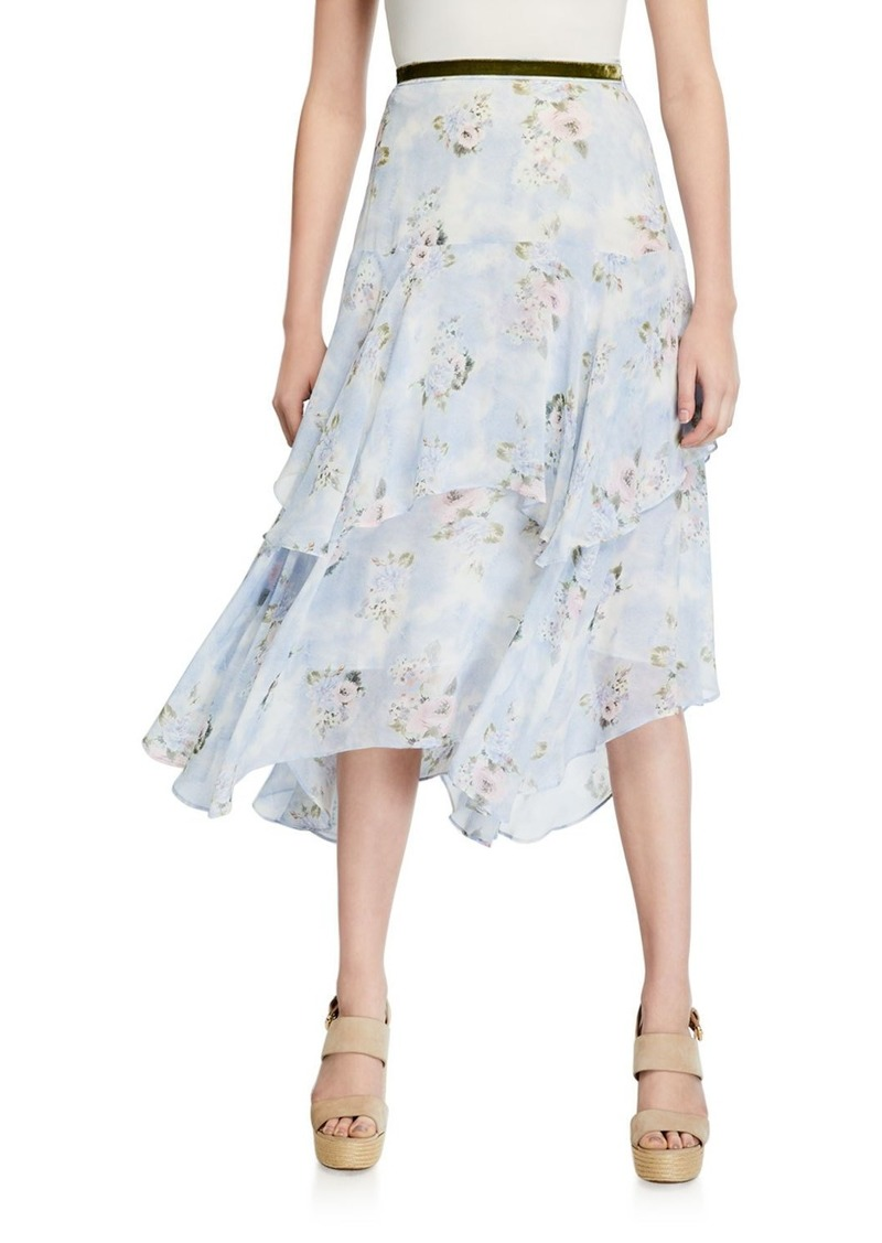 LoveShackFancy Alex Tiered Floral Long Skirt