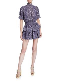 LoveShackFancy Alfie Floral-Striped Mini Dress