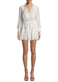 LoveShackFancy Amber Lace Tie-Neck Long-Sleeve Coverup Dress