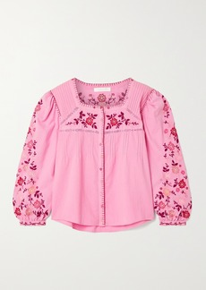 LoveShackFancy Amour Lace-trimmed Embroidered Cotton-voile Blouse