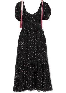 LoveShackFancy Angie Gathered Floral-print Silk-georgette Maxi Dress