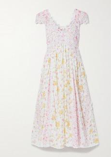 LoveShackFancy Archer Crochet-trimmed Floral-print Broderie Anglaise Cotton Dress