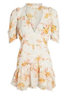 LoveShackFancy Arlo Floral Silk Mini Dress