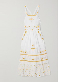 LoveShackFancy Asher Crochet-trimmed Embroidered Cotton-voile Midi Dress