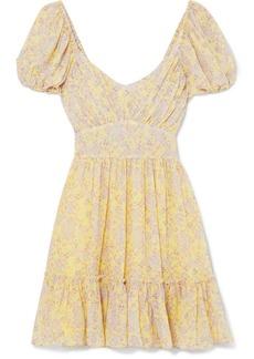 LoveShackFancy Ashley Gathered Floral-print Silk-georgette Mini Dress
