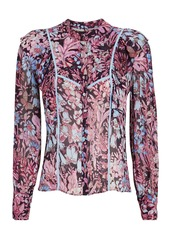 LoveShackFancy Beatrix Ruffled Floral Button-Down Blouse