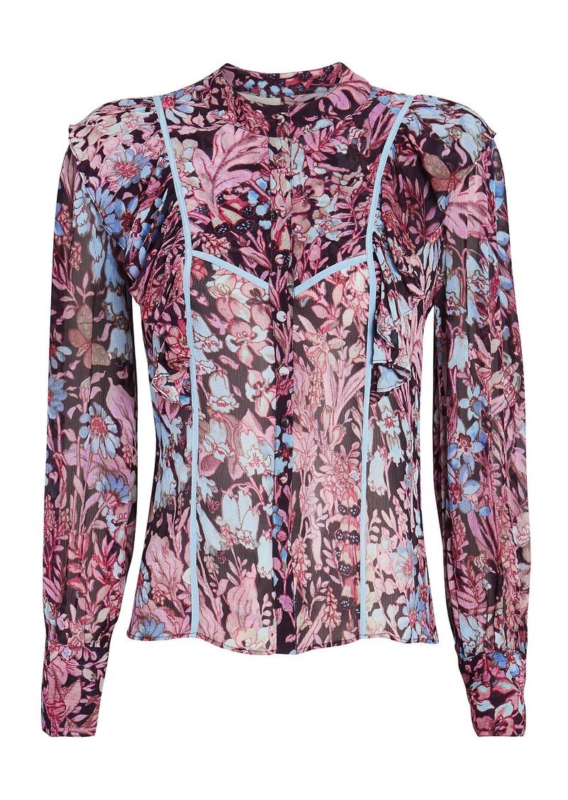 Beatrix Ruffled Floral Button-Down Blouse