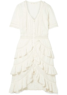 LoveShackFancy Bec Ruffled Crochet-trimmed Embroidered Cotton-voile Dress