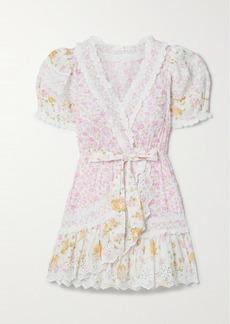 LoveShackFancy Belen Crochet-trimmed Floral-print Broderie Anglaise Cotton Mini Dress