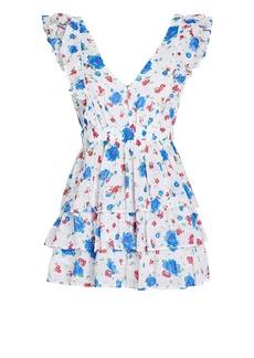 LoveShackFancy Bennett Tiered Floral Mini Dress