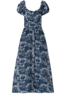 LoveShackFancy Bridget Printed Cotton And Silk-blend Voile Maxi Dress