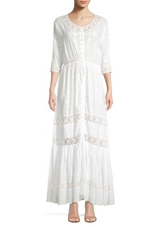 LoveShackFancy Callan Floral-Embroidered Eyelet A-Line Maxi Dress