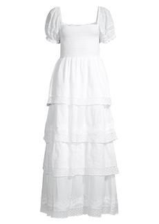 LoveShackFancy Capella Tiered Puff-Sleeve Dress