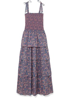 LoveShackFancy Caressa Smocked Tiered Floral-print Cotton Maxi Dress