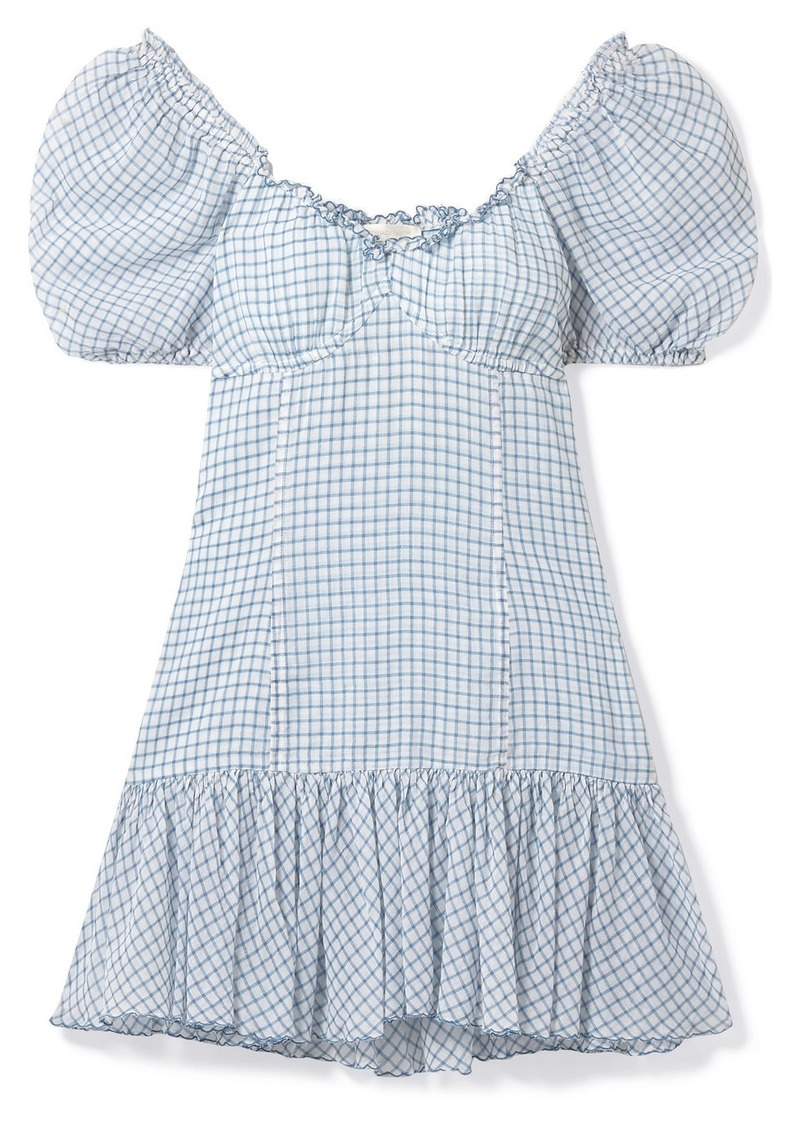 LoveShackFancy Catalina Off-the-shoulder Checked Cotton-voile Mini Dress