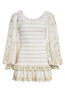 LoveShackFancy Celia Floral-Embroidered Lace Eyelet Ruched Mini Bodycon Dress
