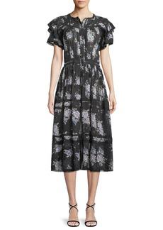 LoveShackFancy Claribel Floral Silk Lace Midi Dress