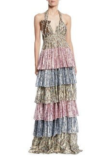 LoveShackFancy Clarissa Tiered Metallic Halter Gown