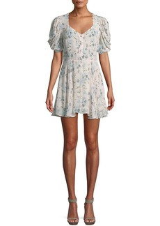 LoveShackFancy Cora Puff-Sleeve Floral Silk Mini Dress