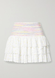 LoveShackFancy Daffodil Smocked Tiered Printed Cotton-voile Mini Skirt