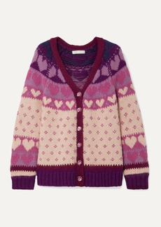 LoveShackFancy Deena Intarsia-knit Cardigan