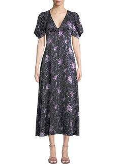 LoveShackFancy Delaney Floral Button-Front Silk Long Dress