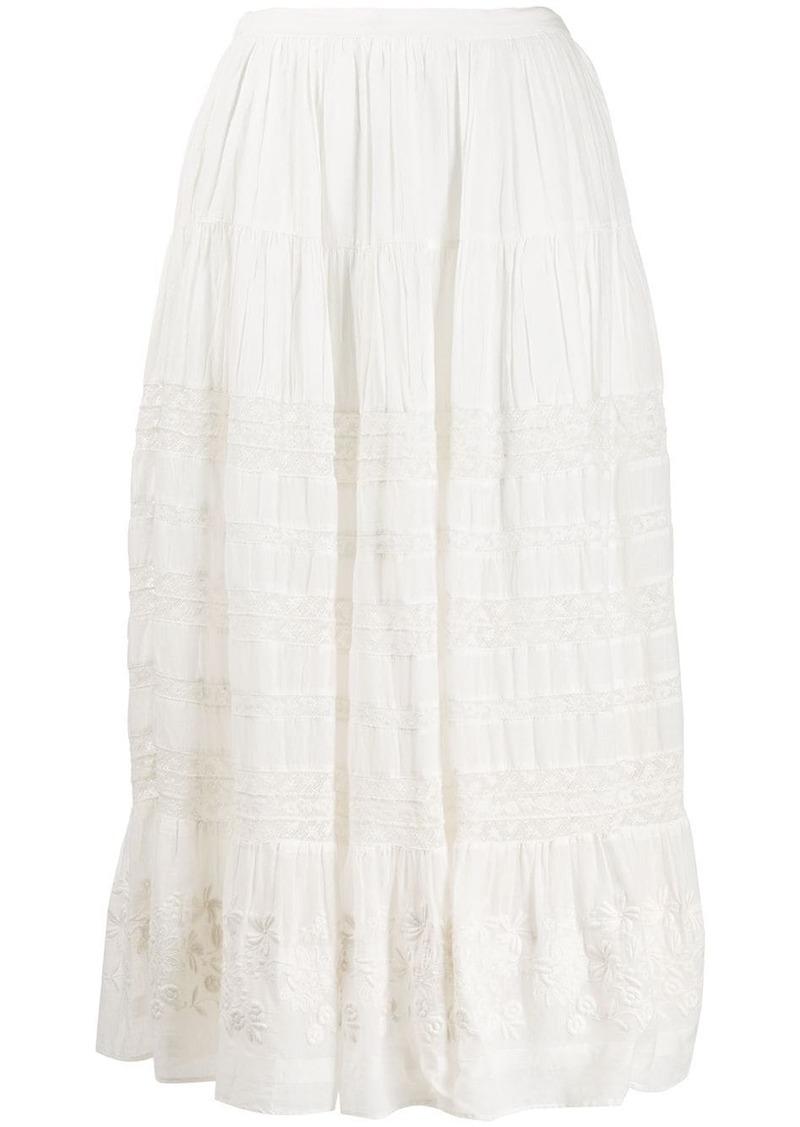 LoveShackFancy Donna embroidered skirt