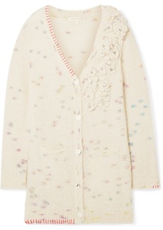LoveShackFancy Emmanuelle Embellished Appliquéd Knitted Cardigan