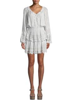 LoveShackFancy Short Embroidered Popover Dress