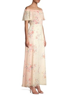 LoveShackFancy Evelyn Floral Silk Maxi Dress