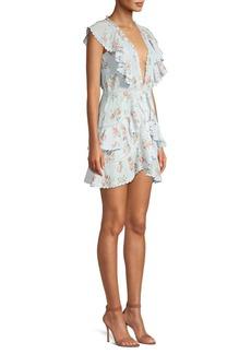 LoveShackFancy Floral Cotton Ruffle Mini Dress