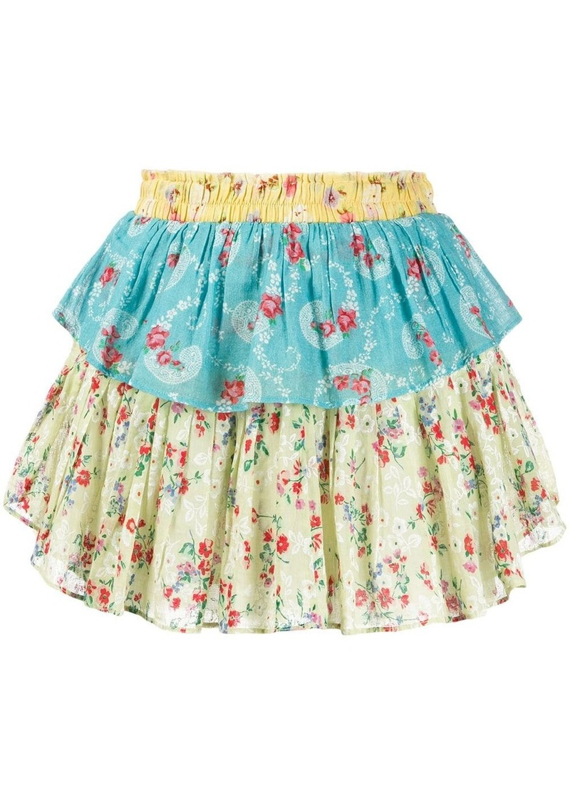 LoveShackFancy floral ruffle mini skirt