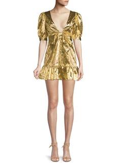 LoveShackFancy Gabriella Metallic Puff Sleeve Mini Dress
