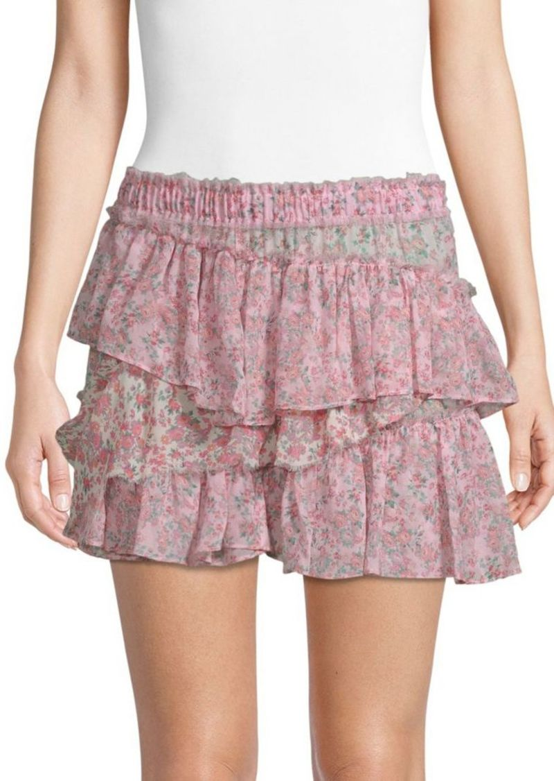 c218ce8d0 LoveShackFancy Genevieve Floral Tiered Mini Skirt | Skirts