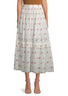 LoveShackFancy Iman Pleated Floral Midi Skirt