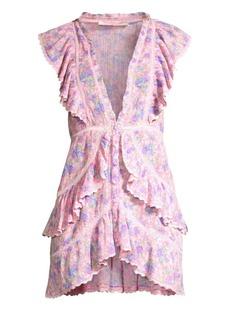 LoveShackFancy India Floral Ruffled Mini Dress