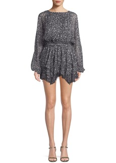LoveShackFancy Kaia Star-Print Silk Mini Dress