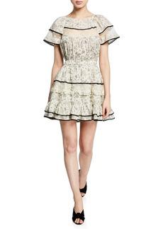 LoveShackFancy Karen Floral Short-Sleeve Dress w/ Lace