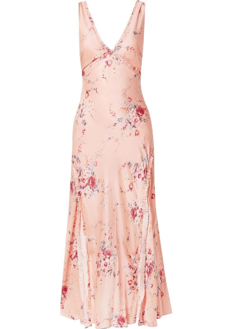 LoveShackFancy Kendall Ruffled Floral-print Silk-satin Maxi Dress