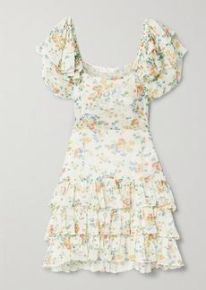 LoveShackFancy Kimbra Tiered Floral-print Silk-chiffon Mini Dress