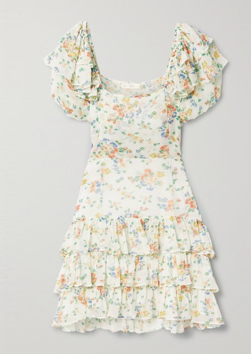 Kimbra Tiered Floral-print Silk-chiffon Mini Dress