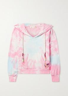 LoveShackFancy Kirby Bead-embellished Appliqued Tie-dyed Cotton-terry Hoodie