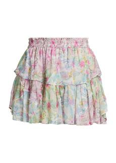 LoveShackFancy Lago Di Como Floral-Print Ruffle Mini Skirt