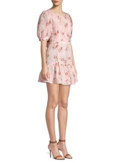 LoveShackFancy Lena Floral Linen Ruffle Dress